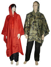 OUTBACK Waterproof Poncho Heavy Duty Nylon Poncho  Woodland  Wet Weather