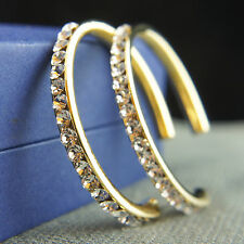 14k Gold plated brilliant crystals dangle hoop earrings with Swarovski elements
