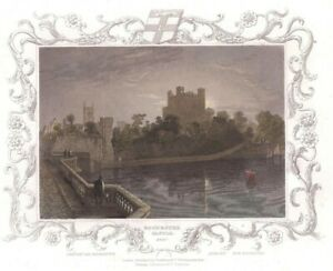 FINE 1833 HAND-COLOURED TOMBLESON ENGRAVING - ROCHESTER CASTLE, KENT - MEDWA