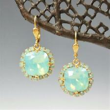 La Vie Parisienne Catherine Popesco Stone Border Crystal Earrings Pacific Opal