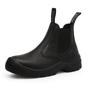 Men's Slip On Work Boots Lightweight Leather Waterproof Industrial Construction