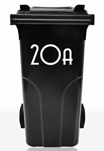 Wheelie or Dust Bin Number Sticker, 20cm high, self adhesive for shops office