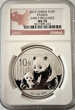 2012 CHINA 10 YUAN PANDA 1 OZ SILVER COIN NGC MS 70 GEM Perfect Early Releases
