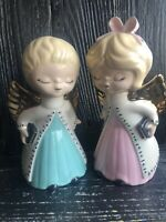 Vintage Kissing Choir Angels Boy/Girl-Blonde-Pink Aqua Gold White Hand Painted