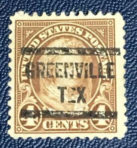 US PRECANCEL GREENVILLE TEXAS 4 CENT BROWN MARTHA WASHINGTON STAMP  USED (D1Y)