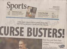 Newspaper Oct. 28, 2004--CURSE BUSTERS!--Red Sox Win World Series