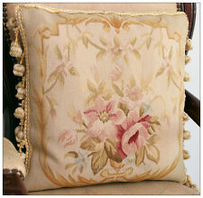 """16"""" WOOL Aubusson Pillow PASTEL GOLD PINK CREAM French Home Decor Chair Cushion"""