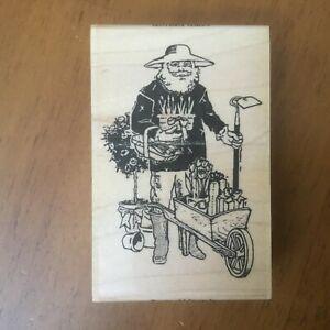 Acey Deucy Santa Abloom gardening gardener potted plant wheelbarrow Rubber Stamp