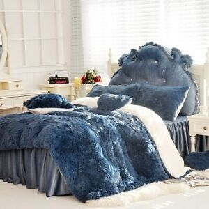 2021 Home New Velvet Bedding Set Soft Quilt Cover Sheet Bed Skirt Pillowcase