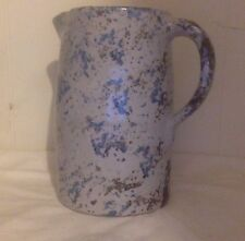 19th Century Spongeware Pottery Pitcher. Blue, Pale Grey, Brown.