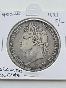 1821 GREAT BRITAIN GB CROWN Secundo Edge GEORGE IV BRITISH SILVER COIN