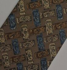 "Brown Blue Foulard Tie 3.8"" Wide 60"" Extra Long"