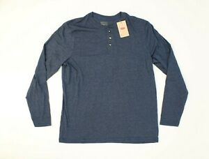 Levis Mens Size Large Long Sleeve Henley Shirt Blue NWT