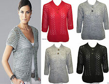 Acrylic V Neck Waist Length 3/4 Sleeve Jumpers & Cardigans for Women