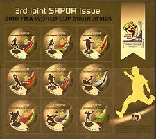 Lesotho 2010 SAPOA Fifa Soccer World Cup South Africa Golden Minisheet UMM MNH