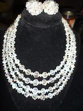 Statement Necklace Set Rainbow Aurora Crystal Vintage Antique Earrings Clipon