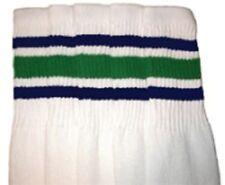 "22"" KNEE HIGH WHITE tube socks with ROYAL BLUE/GREEN stripes style 3 (22-76)"