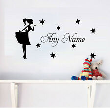 Princess With Stars Wall Sticker Home Decor Custom Kids Name Personalized Decal