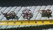 in Silver Tone & Gold Tone Lot of 3 Costume Jewelry Rhinestone Brooches