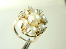 1073 Ring w/ Large Pearls Cluster & Diamonds 14k Solid 100% Yellow Gold Sz 5 3/4