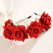 Rose Flower Crown Wedding Festival Headband Hairband Floral Garland Headpiece UK