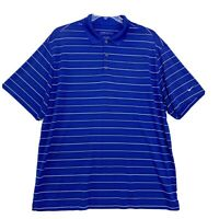 Nike Golf Polo Mens Size XXL 2XL Blue Striped Short Sleeve Dri Fit Embroidered