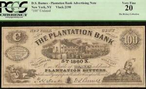 1860 $100 DOLLAR DRAKE'S PLANTATION BITTERS AD NOTE NEW YORK PCGS 20