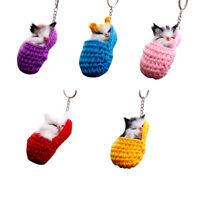 Cat Keychain Bag Car Ornament Key Ring Chain slipper Cat Keychain Bag Penda R3B9