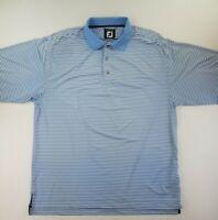 FootJoy Polo Shirt Mens Large Blue Striped Short Sleeve Golf EUC B46-11