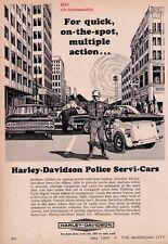"1965 Harley Davidson Police Servi-Cars ""Multiple Action""  Motorcycle Print Ad"