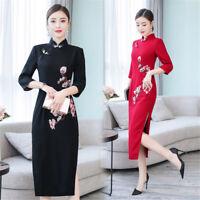 Fashion Spring Autumn Flowers Embroidery Women's Slim Long Dress Cheongsam M-3XL