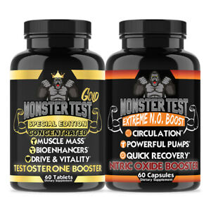 Monster Gold Testosorone Booster & Nitric Oxide - Muscle Mass, Circulation,Drive