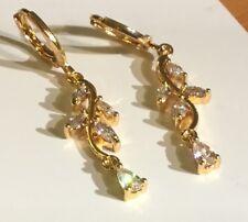 zz Sim diamond 18K gold gf drop dangle earrings 41x9mm Plum UK Cruise Jewellery