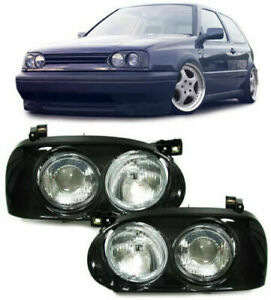 VW GOLF MK3 BLACK BACKGROUND QUAD TWIN HEADLIGHTS 1991-1997 MODEL