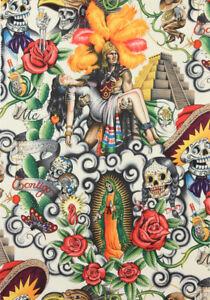 Contigo SkeletonsDay of Dead  Alexander Henry Cotton Quilt Fabric 7204 A Tint