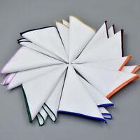 Men Pocket Square Handkerchief Suit  100% Cotton Colorful edge -