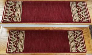 "Rug Depot 13 European Border Non Slip Carpet Stair Treads 30"" x 9"" Red Wool"