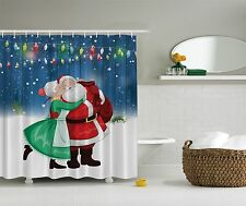 Santa & Mrs. Claus Christmas Holiday Art Fabric Shower Curtain Digital Bathroom