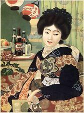 Comercial anuncio Kirin Beer alcohol Japón Geisha de arte cartel impresión bb1851a