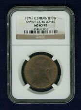 GREAT BRITAIN VICTORIA 1874-H  PENNY COIN, UNCIRCULATED, CERTIFIED NGC MS63-RB