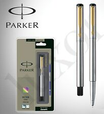 GENUINE PARKER VECTOR STAINLESS STEEL GT GOLD TRIM ROLLER BALL BLUE INK PEN NEW