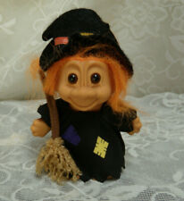 "Russ Troll Halloween Witch - 6 "" to the top of hat Orange hair with a broom"