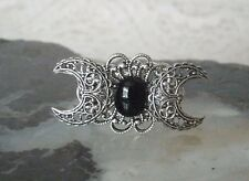 Black Onyx Triple Moon Ring, wiccan pagan wicca goddess witch witchcraft gothic