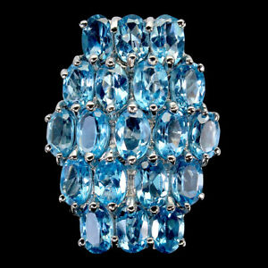 Oval Swiss Blue Topaz 6x4mm 14K White Gold Plate 925 Sterling Silver Big Ring 7