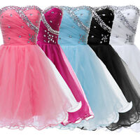 Evening Ball gowns Party Prom Weding Strapless Inlaid Beads Short MINI Dress