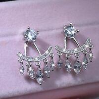 18k white gold made with SWAROVSKI crystal stud earrings ear jacket tassel fan