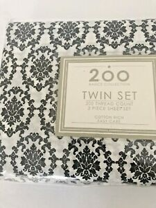 Twin Sheet Set Black White flat fitted pillow case Damask Design NEW