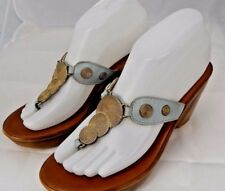 A. Giannetti Italy Blue Leather & Stud Wedge Platform Thong Sandal Sz 8