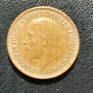 Great Britain One Farthing, 1928 bronze coin, KM# 825, King George V