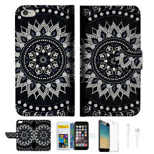 Black AZTEC TRIBAL Wallet  Case Cover For Apple iPhone 6 6S -- A005